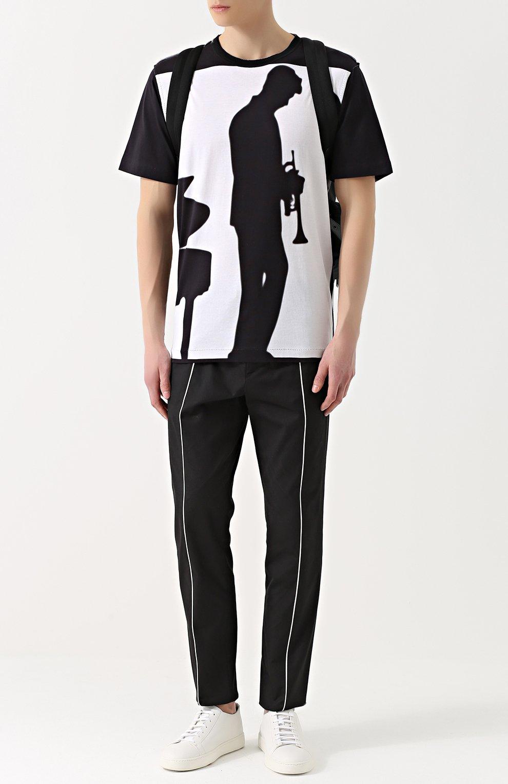 Хлопковая футболка свободного кроя с принтом Dolce & Gabbana черно-белая | Фото №2