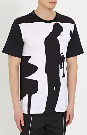 Хлопковая футболка свободного кроя с принтом Dolce & Gabbana черно-белая | Фото №3