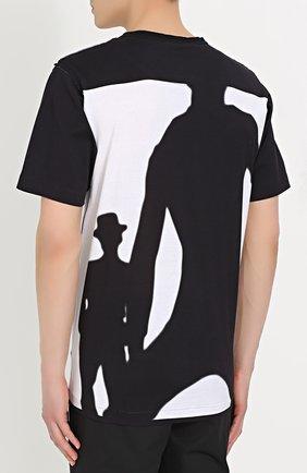 Хлопковая футболка свободного кроя с принтом Dolce & Gabbana черно-белая | Фото №4