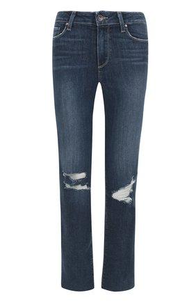 Укороченные расклешенные джинсы с потертостями   Фото №1