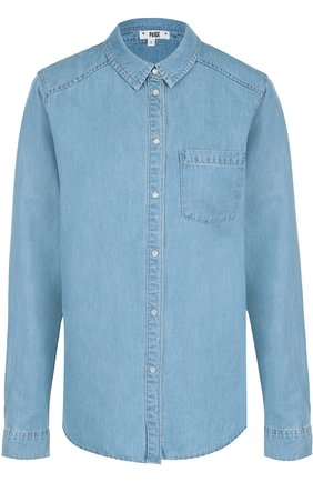 Джинсовая блуза прямого кроя с накладными карманами | Фото №1
