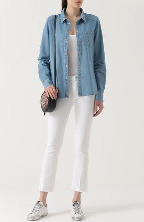 Джинсовая блуза прямого кроя с накладными карманами | Фото №2