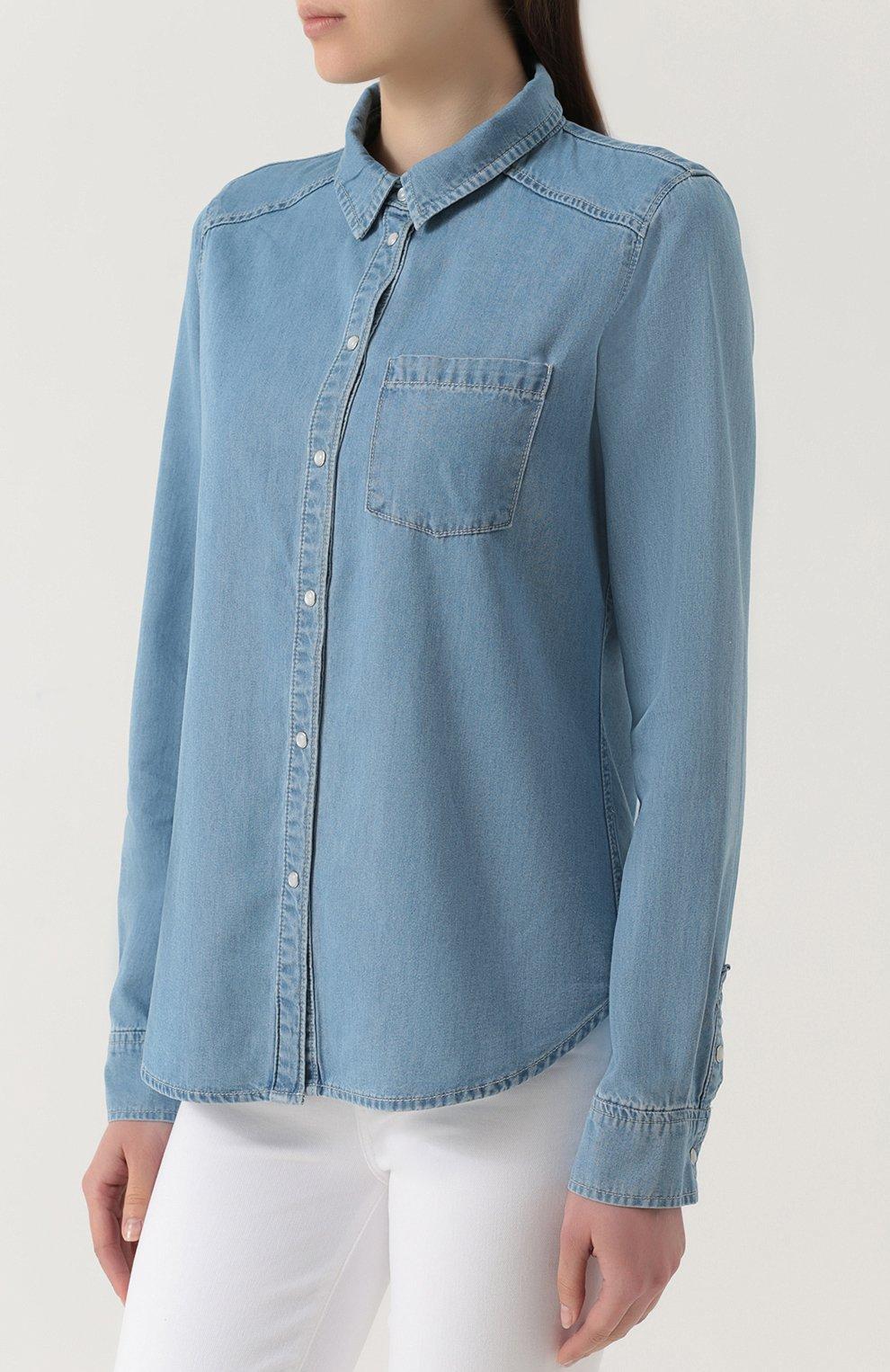 Джинсовая блуза прямого кроя с накладными карманами | Фото №3
