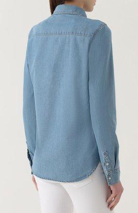 Джинсовая блуза прямого кроя с накладными карманами | Фото №4