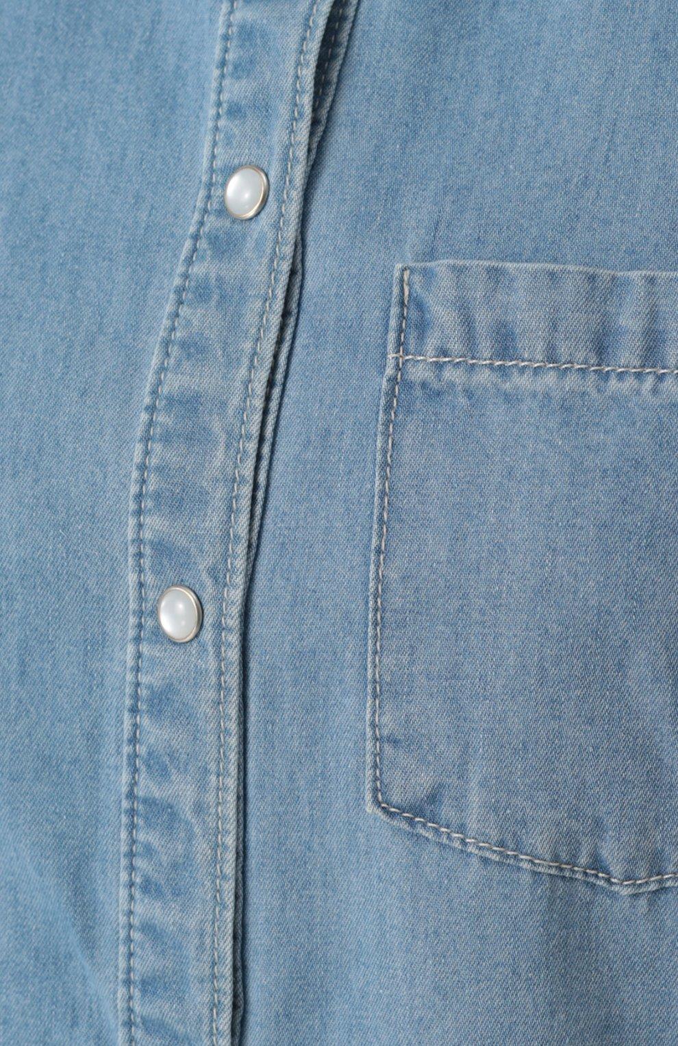 Джинсовая блуза прямого кроя с накладными карманами | Фото №5
