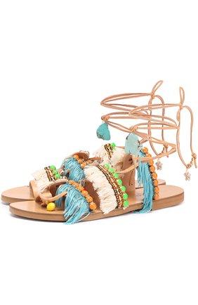 Кожаные сандалии Mint Mojitos с декором | Фото №1