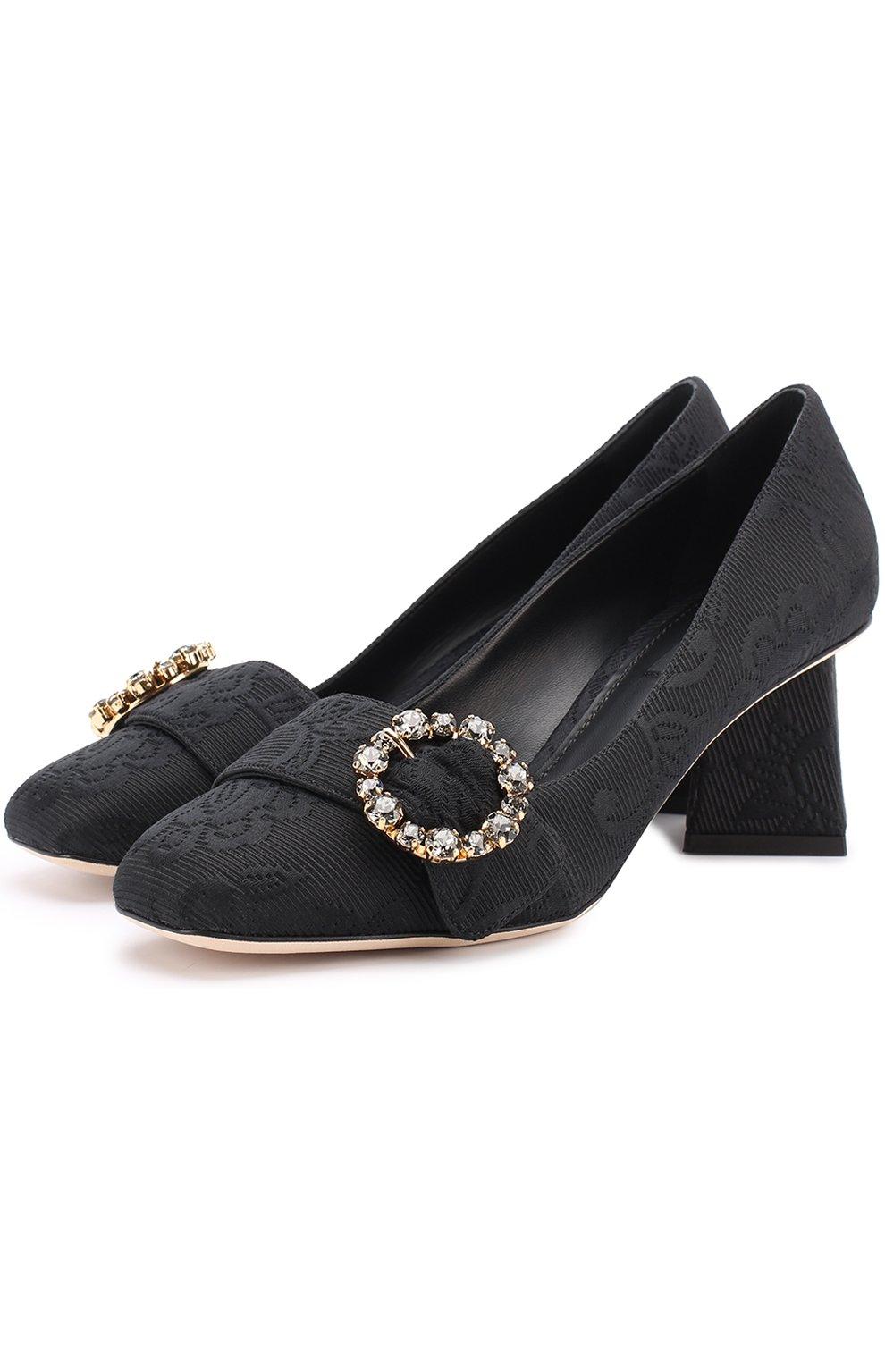 Парчовые туфли на фигурном каблуке | Фото №1