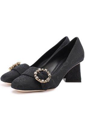Парчовые туфли на фигурном каблуке Dolce & Gabbana черные | Фото №1