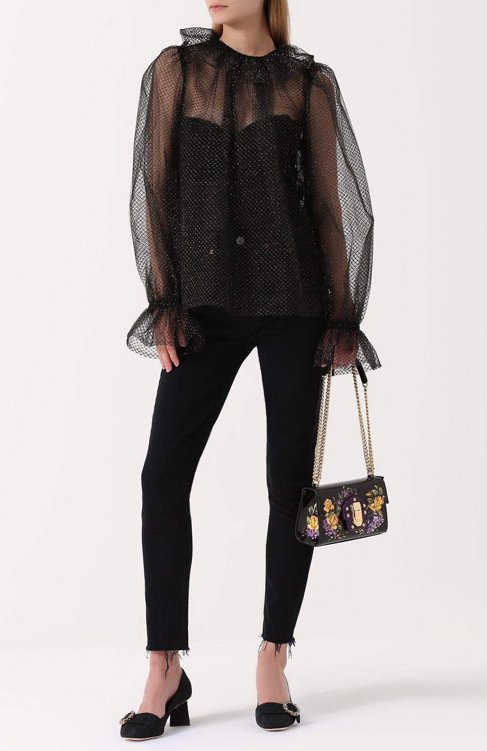 Парчовые туфли на фигурном каблуке Dolce & Gabbana черные | Фото №2