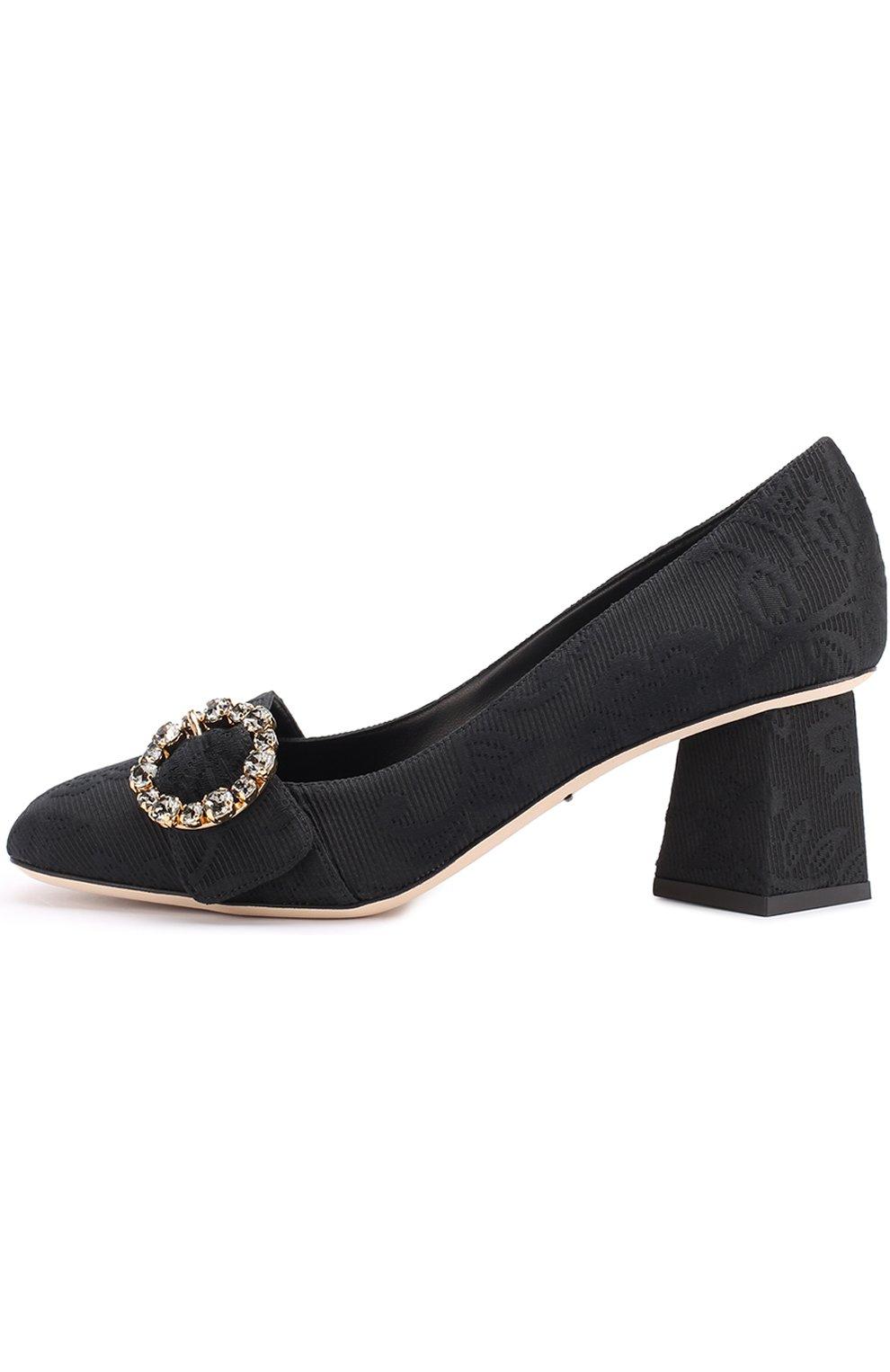Парчовые туфли на фигурном каблуке Dolce & Gabbana черные | Фото №3