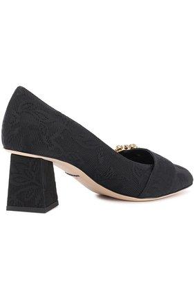 Парчовые туфли на фигурном каблуке Dolce & Gabbana черные | Фото №4