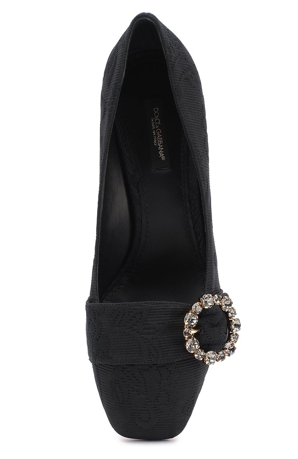 Парчовые туфли на фигурном каблуке Dolce & Gabbana черные | Фото №5