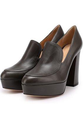 Кожаные туфли Marcel на устойчивом каблуке и платформе | Фото №1
