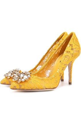 Женская текстильные туфли rainbow lace DOLCE & GABBANA желтого цвета, арт. 0112/CD0101/AL198 | Фото 1