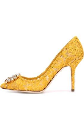 Женская текстильные туфли rainbow lace DOLCE & GABBANA желтого цвета, арт. 0112/CD0101/AL198 | Фото 2