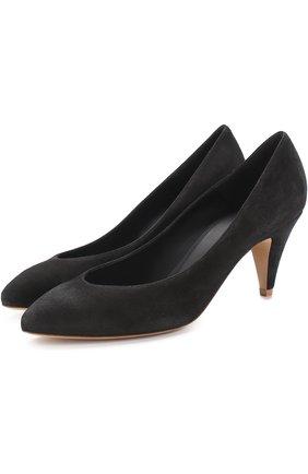 Замшевые туфли на каблуке kitten heel | Фото №1