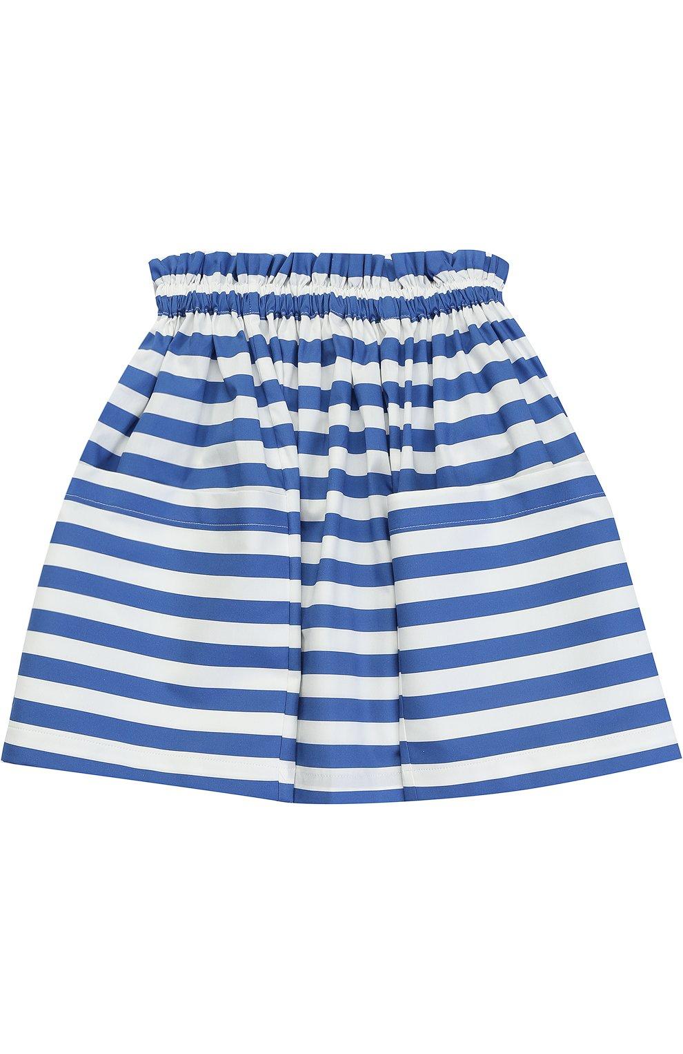 Хлопковая юбка в полоску с накладными карманами | Фото №1