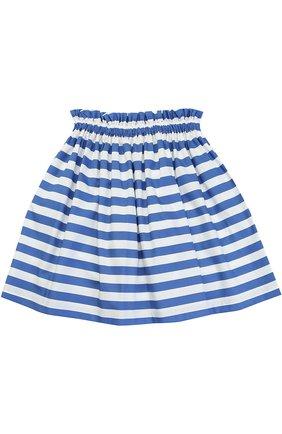 Хлопковая юбка в полоску с накладными карманами | Фото №2
