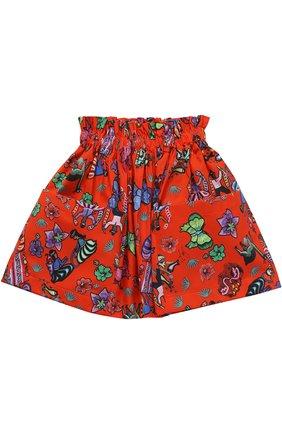 Хлопковая юбка с принтом и накладными карманами | Фото №1