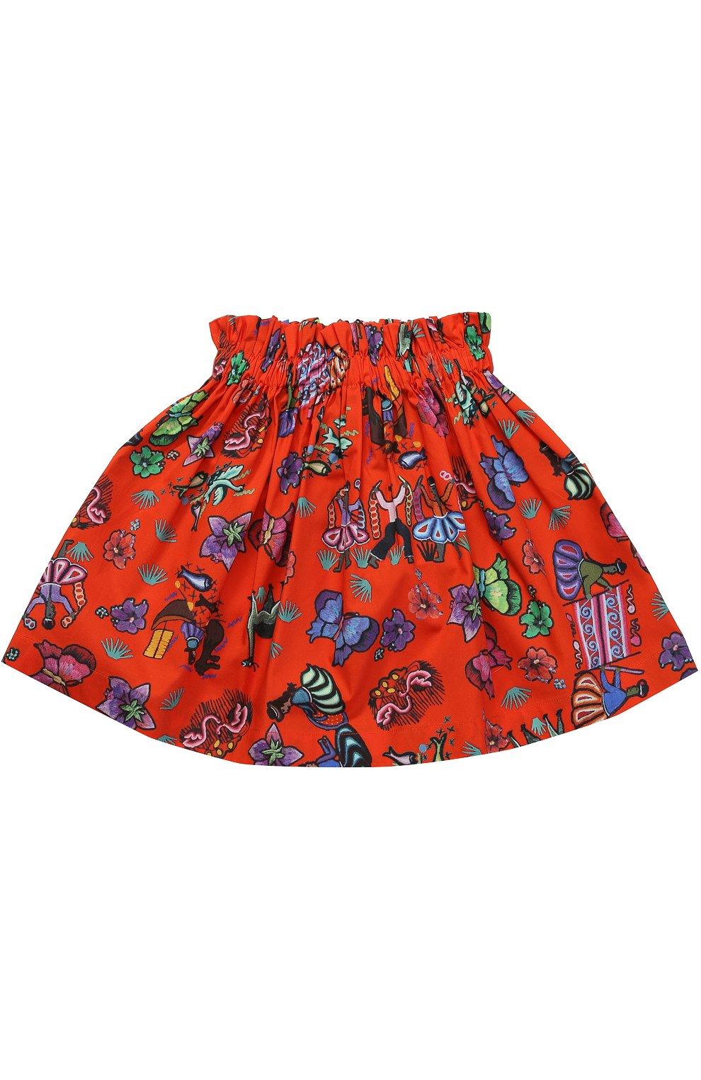 Хлопковая юбка с принтом и накладными карманами | Фото №2