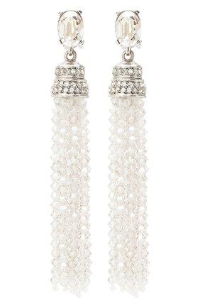 Женские серьги-клипсы с кристаллами swarovski OSCAR DE LA RENTA серебряного цвета, арт. 0J106CYS | Фото 1