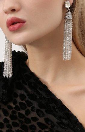 Женские серьги-клипсы с кристаллами swarovski OSCAR DE LA RENTA серебряного цвета, арт. 0J106CYS | Фото 2