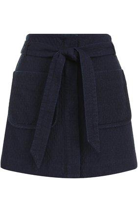 Мини-юбка с накладными карманами и поясом | Фото №1