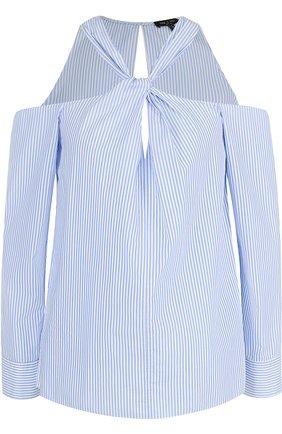 Блуза в полоску с открытыми плечами | Фото №1
