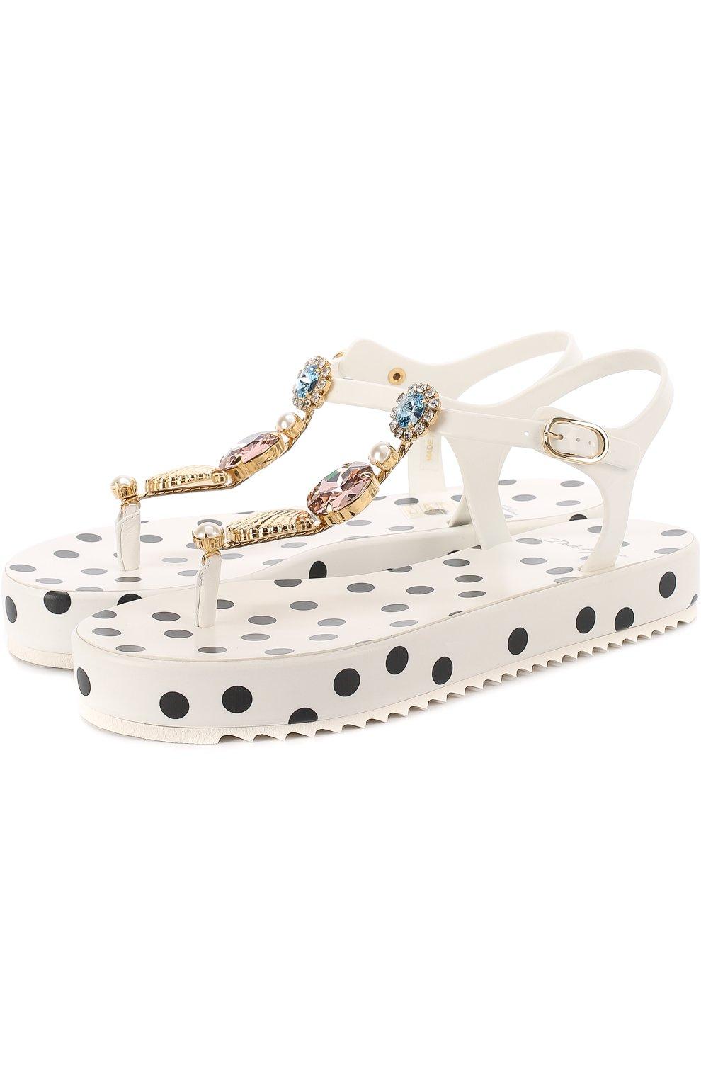Резиновые сандалии с кристаллами | Фото №1