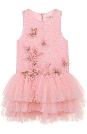 Детское многослойное мини-платье с аппликациями Little Miss Aoki розового цвета   Фото №1