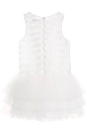 Детское многослойное мини-платье с аппликациями Little Miss Aoki белого цвета   Фото №1