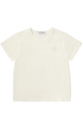 Детский хлопковая футболка с логотипом бренда DOLCE & GABBANA белого цвета, арт. 0131/L1JT4I/G7JKK | Фото 1