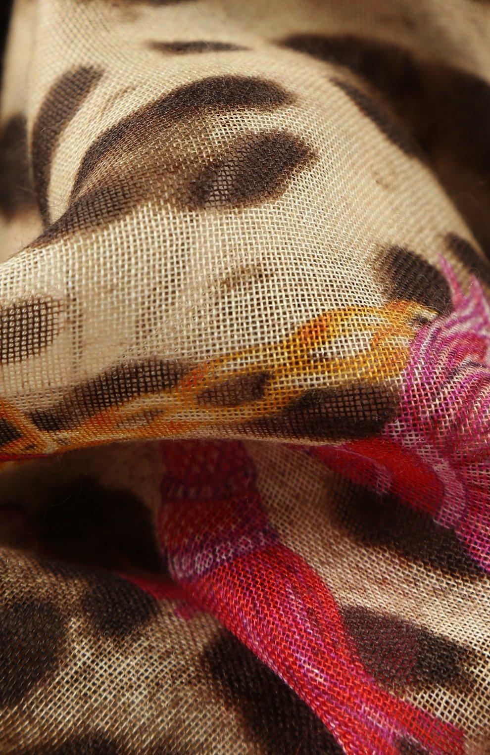 Шарф из смеси кашемира и шелка с принтом Dolce & Gabbana фуксия | Фото №2