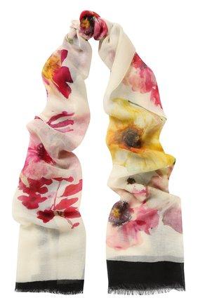Кашемировый шарф с цветочным принтом | Фото №1