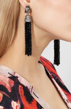 Женские серьги-клипсы OSCAR DE LA RENTA серого цвета, арт. 0J106BLD | Фото 2