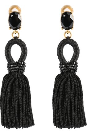 Женские серьги-клипсы с кистями и камнями OSCAR DE LA RENTA черного цвета, арт. P17J105BLK | Фото 1