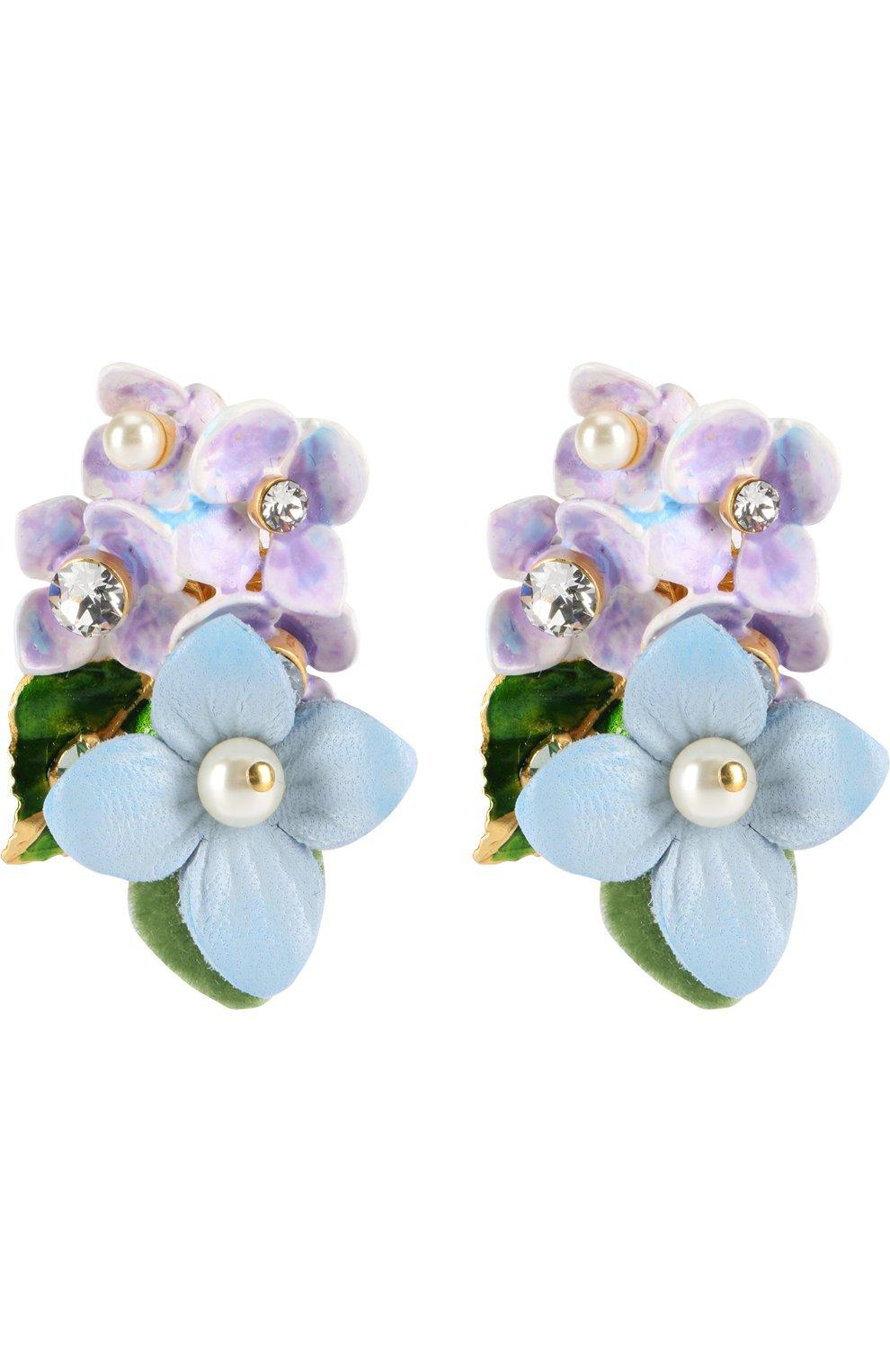 Серьги-клипсы с цветочным декором и кристаллами Swarovski | Фото №1
