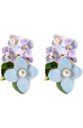 Серьги-клипсы с цветочным декором и кристаллами Swarovski Dolce & Gabbana золотые | Фото №1