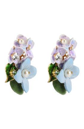 Серьги-клипсы с цветочным декором и кристаллами Swarovski Dolce & Gabbana золотые | Фото №2