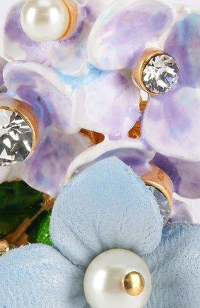 Серьги-клипсы с цветочным декором и кристаллами Swarovski Dolce & Gabbana золотые | Фото №3