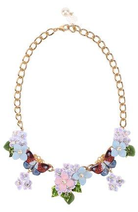 Колье с цветочным декором и кристаллами Swarovski Dolce & Gabbana разноцветное | Фото №1