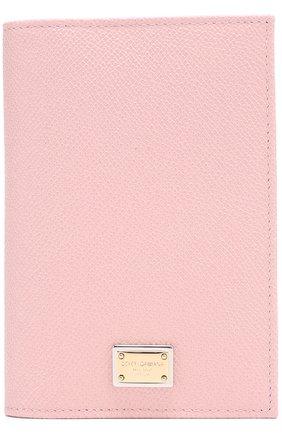 Кожаная обложка для документов Dolce & Gabbana светло-розового цвета | Фото №1