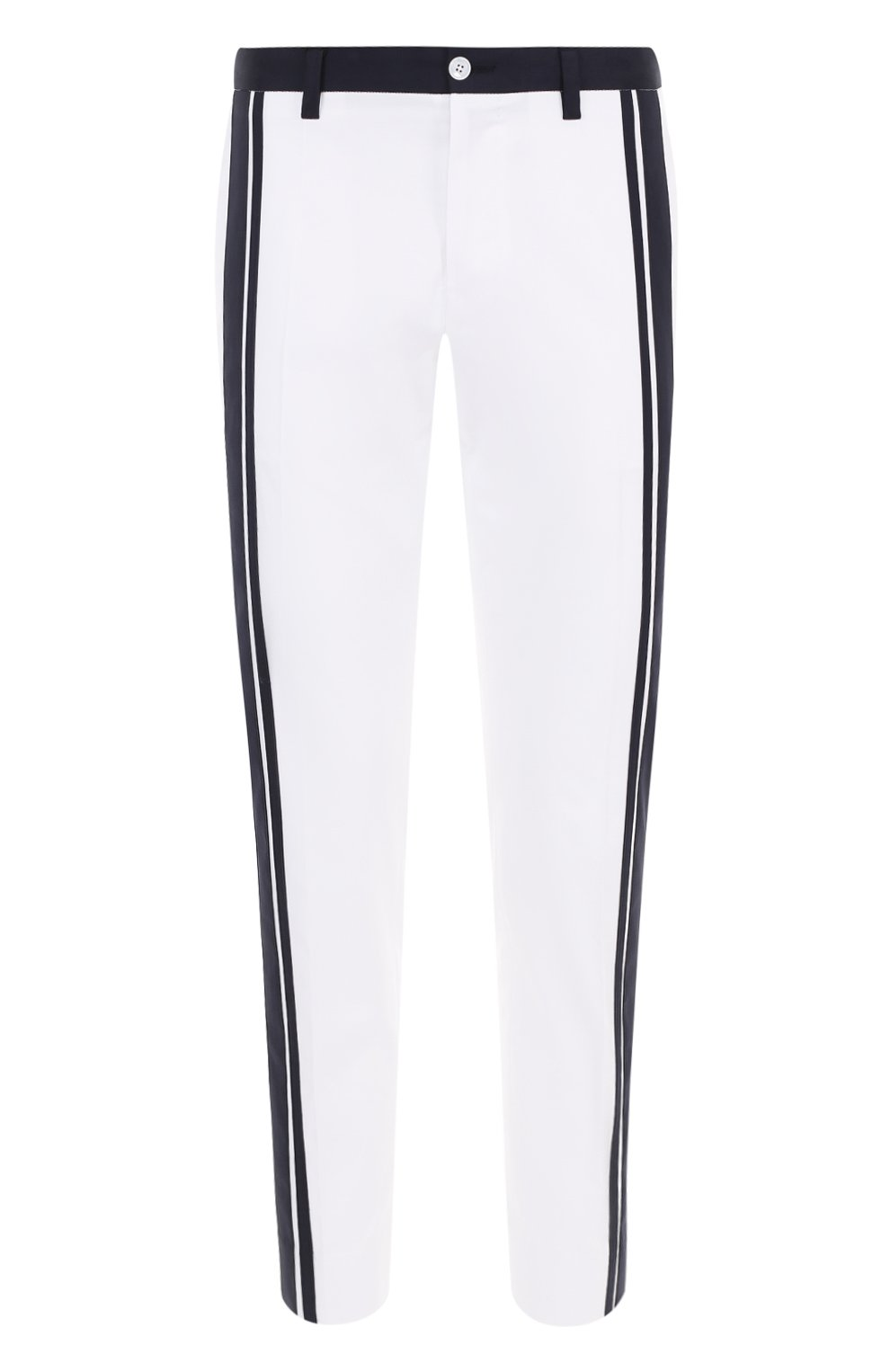 Хлопковые брюки прямого кроя с контрастной отделкой   Фото №1
