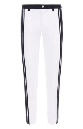 Хлопковые брюки прямого кроя с контрастной отделкой Dolce & Gabbana белые   Фото №1