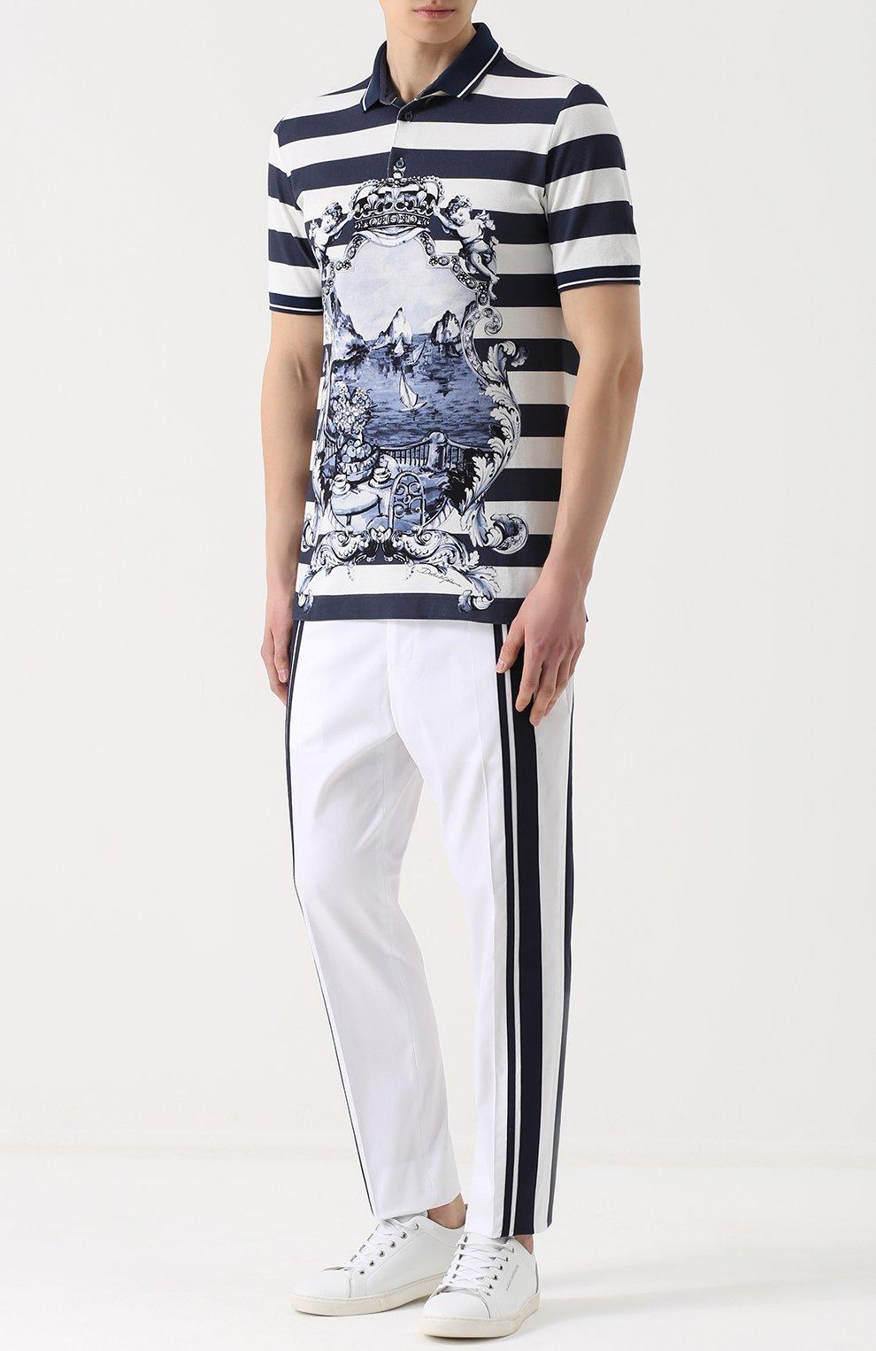Хлопковые брюки прямого кроя с контрастной отделкой Dolce & Gabbana белые   Фото №2