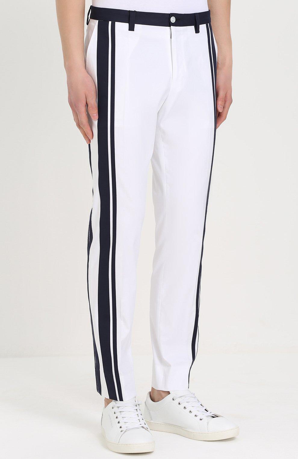 Хлопковые брюки прямого кроя с контрастной отделкой Dolce & Gabbana белые   Фото №3