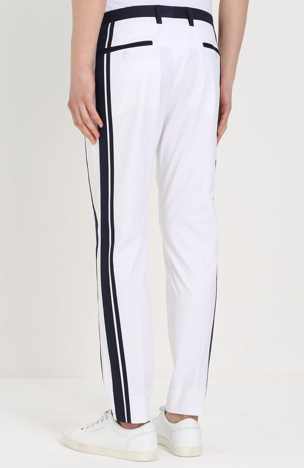Хлопковые брюки прямого кроя с контрастной отделкой Dolce & Gabbana белые   Фото №4