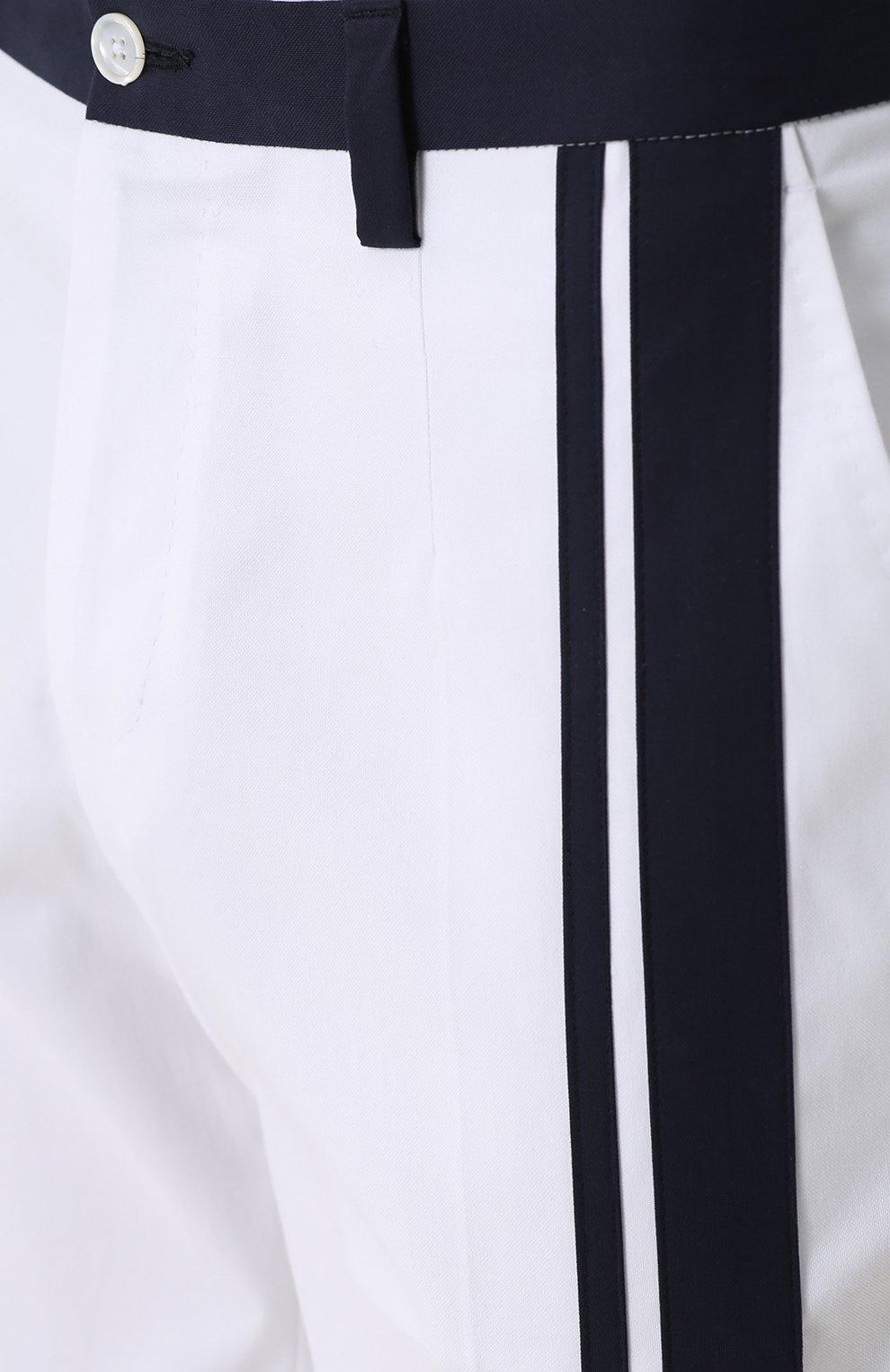 Хлопковые брюки прямого кроя с контрастной отделкой Dolce & Gabbana белые   Фото №5