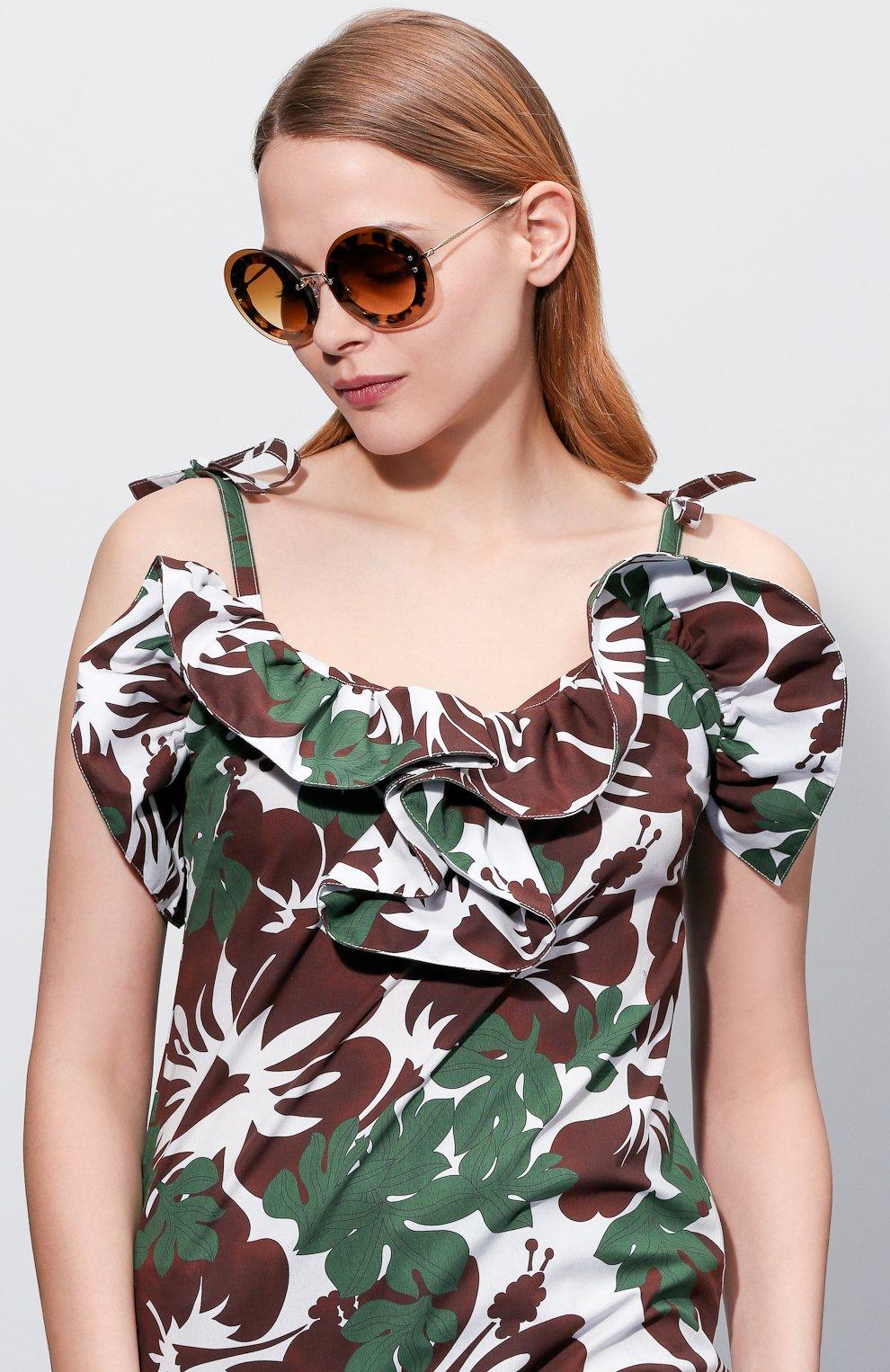 Женские солнцезащитные очки MIU MIU коричневого цвета, арт. 10RS-7S01G0 | Фото 2