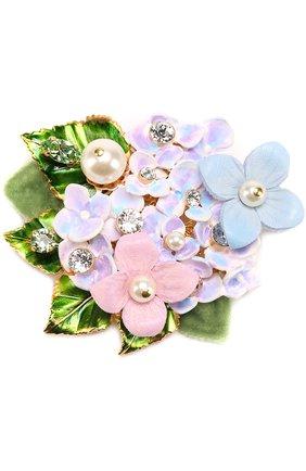 Брошь с цветочным декором и кристаллами Swarovski Dolce & Gabbana золотая | Фото №1